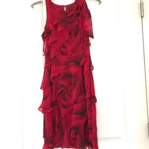 White House Black Market Red Rose Dress
